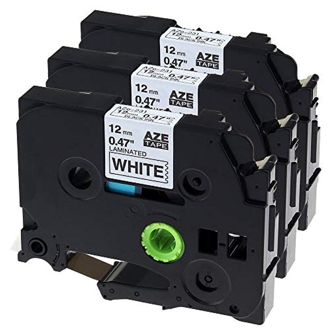 リレースモッグ機密TUOBO ブラザーTze-231テープ 3個セット テープカートリッジ (12mm 長さ8m 白地黒文字) ブラザー工業テープ tz231 tze231 互換 TZテープ P-Touchピータッチ テープ Brother PT-190 PT-P710BT