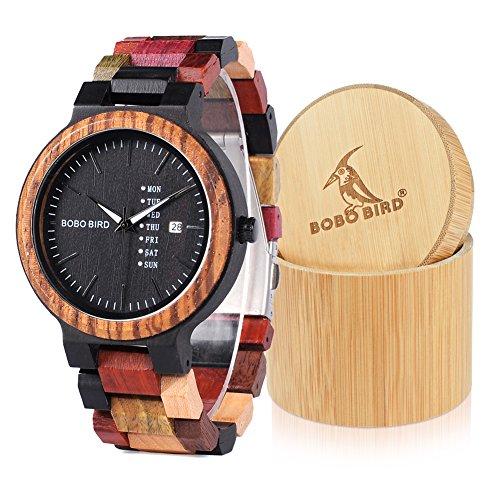 bobo鳥男性用女性用カラフルな木製腕時計Week &日付表示多機能クォーツ腕時計スポーツクロノグラフユニークエレガントな腕時計 Large for man