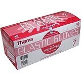 超薄手プラスチック手袋 ピッタリフィットする 使いやすい トーマ プラスチック手袋 パウダーフリー滅菌済 25双入 サイズ7【4個セット】