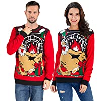 Uideazone Unisex Ugly Christmas Sweaters Long Sleeve Round Neck Knitted Sweater Pullover