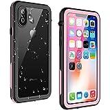 VAPESOON iPhone X/iPhone Xs 防水ケース 耐衝撃 防塵 超薄型 IP68 無線充電 フェイスID認証(ピンク&黒)