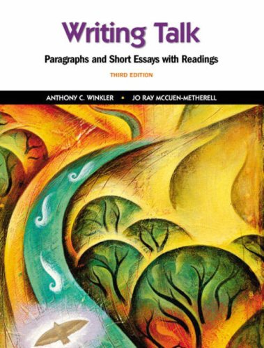 writing talk paragraph and short essay with reading Encuentra writing talk: paragraphs and short essays with readings plus mywritinglab -- access card package de anthony c winkler, jo ray mccuen-matherell (isbn: 9780134016658) en amazon.