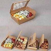目に見える使い捨てクラフト長方形サラダボウル - 大容量スナックプラターランチパッケージボックス寿司ステーキボックス[100パック] (Color : 1200ML)