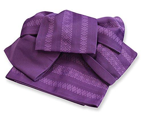 作り帯 浴衣帯 献上 両面小袋半幅帯 つばめ結び帯 (古代紫)