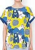 (グラニフ) graniph バックボタン ラウンドネック Tシャツ B (サンベアーズアンドフラワーズ) (ブルー) レディース