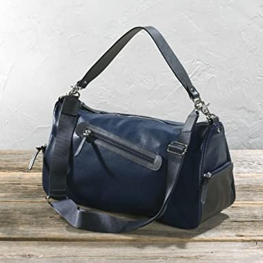 Punched Leather Duffle Bag: Navy