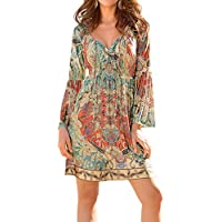 WLLW Women's Long Sleeve V Neck Print Bohemian Beach Casual Mini Dress