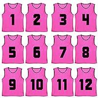 TopTie番号付き/空白のスクリムチーム練習用メッシュジャージベストPinnies(12-Pack) - ホットピンク (#1 To 12) - 大人