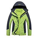 SemiAugust(セミオーガスト) 男女類 新型取り外し可能な内部ジャケット 防水 防寒 防風 登山用 スキー クライミング 丈夫 女性用 カラーはグリーン サイズはM