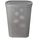 HOUZE - 60L Polka Dots Tall Laundry Basket (Grey)