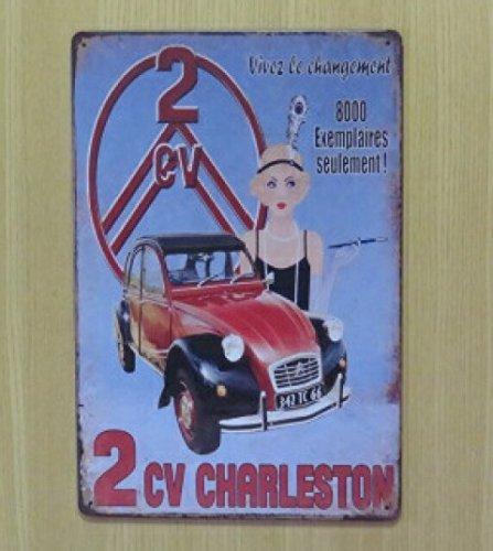 シトロエン 2CV チャールストン 金属製 メタルサインプレート Citroën CHARLESTON TB 看板 ブリキ アンティーク ガレージ インテリア 広告 カフェ 店舗備品