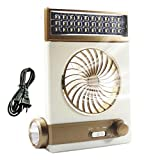 Beaurtty 多機能ポータブル ソーラーパワー/AC充電式ライト ミニクールファン 屋外キャンプテントぶら下げ LEDランプ懐中電灯