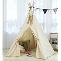 steegic KidsコットンキャンバスTeepee子Playhouse 5ポールTipiのKids Play Tent