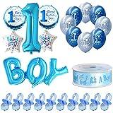 バルーン Migavan ハートパーティー 飾り風船男の赤ちゃん最初の1誕生日用風船パーティーの装飾用品セット100ピースおしゃぶり