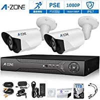 A-ZONE 200万画素タイプ 防犯カメラキット 4CHレコーダー&2台カメラフルハイビジョン 防水IP67 ナイトビジョン監視カメラiPhone Android スマホ PC 遠隔監視 対応 (1TBHDD付き) (SA1080420-1)