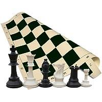 おもちゃ Tournament Chess Set - Chess Pieces - Black Chess Board - 34 Pieces (2 Extra Queens) - 3.75