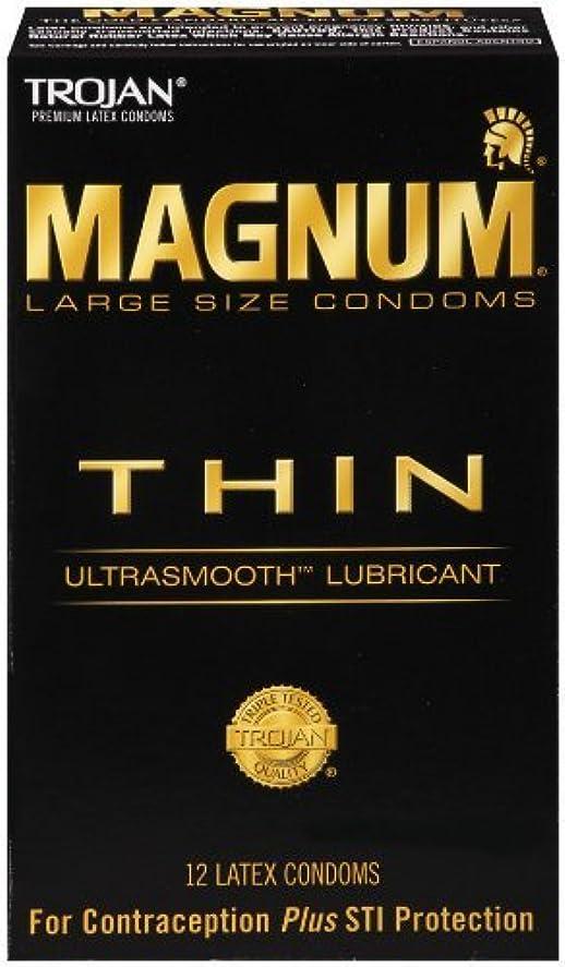 リブ憤る申請者Trojan Magnum Thin Lubricated Latex Condoms-12 ct by Trojan