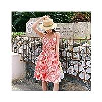 2019年夏のスリムロングストラップ印刷されたドレスの韓国語バージョンは薄い休日のケーキノースリーブのスカートでした,赤,M