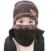 AMAZACER Boys' Scarf, Hat & Glove Set One Size (Color : Coffee)