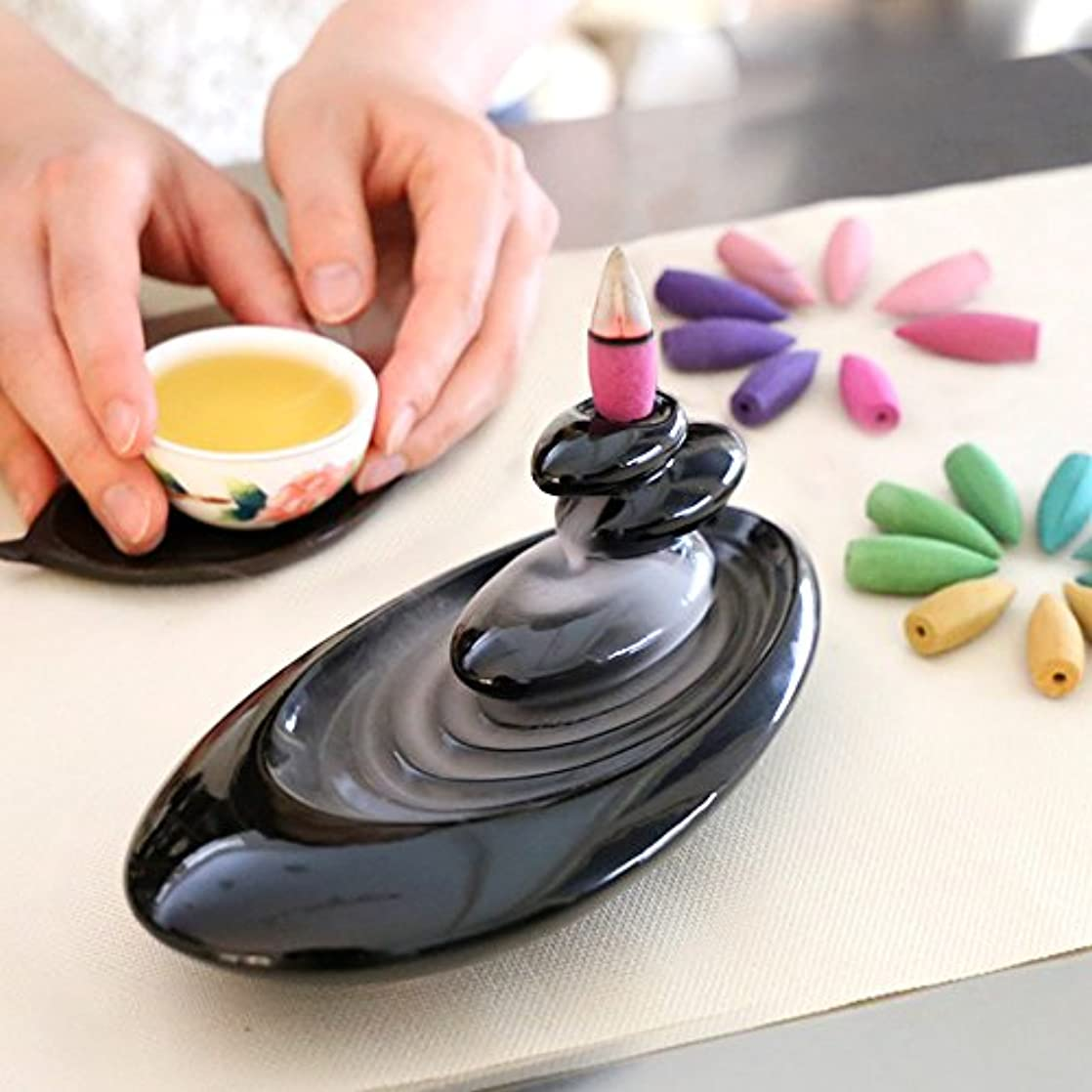 ナインへ測定可能港倒流香 香炉 シンプル 6種の香り アロマ香炉 ギフトBOX仕様 アロマインセンス 逆流香 誕生日 プレゼント (誕生日カード)