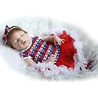Dollshow LifelikeフルボディシリコンFake赤ちゃんガールズ解剖学的に正しいSleeping Reborn人形for New Mommy NurseryトレーニングモヘアRooted 23インチ57 cm