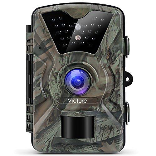 Victure トレイルカメラ 人感センサー 防犯カメラ 1200万画素 1080P フルHD 監視カメラ 2.4 インチLCD IP66防水防塵 90°検知範囲 不可視赤外線LEDライト搭載 動き検知 日本語説明書付き