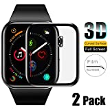 Full Screen Watch protective film 3D curved edge compatible Apple Watch 5 series Tempered Glass Screen Protector Film compatible with iWatch 38 40 42 44mm [2 pack] (40mm)