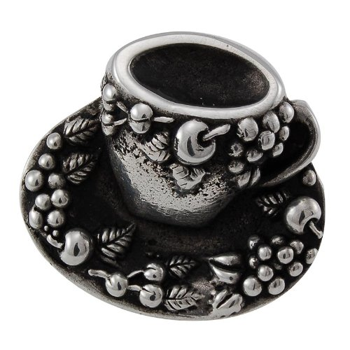 Vicenza Designs K1062 Cappuccino Cup Knob, Large, Antique Silver