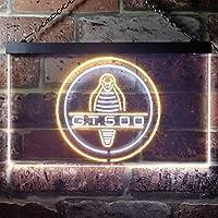 Ford Mustang Shelby Cobra GT 500 LED看板 ネオンサイン バーライト 電飾 ビールバー 広告用標識 ホワイト+イエロー W40cm x H30cm