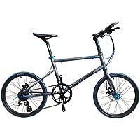 SCHNEIZER(シュナイザー) 【ミニベロ】超軽量 9.9kg アルミフレーム 20インチ Wディスクブレーキ Shimano ALTU8速 本格小径車 Z501 グレー/ブルー Z501 グレー/ブルー