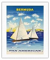 ジェットクリッパーズを経由バミューダ - パンアメリカン航空フライ - サマーズ諸島ヨット - ビンテージな航空会社のポスター c.1950s - キャンバスアート - 41cm x 51cm キャンバスアート(ロール)