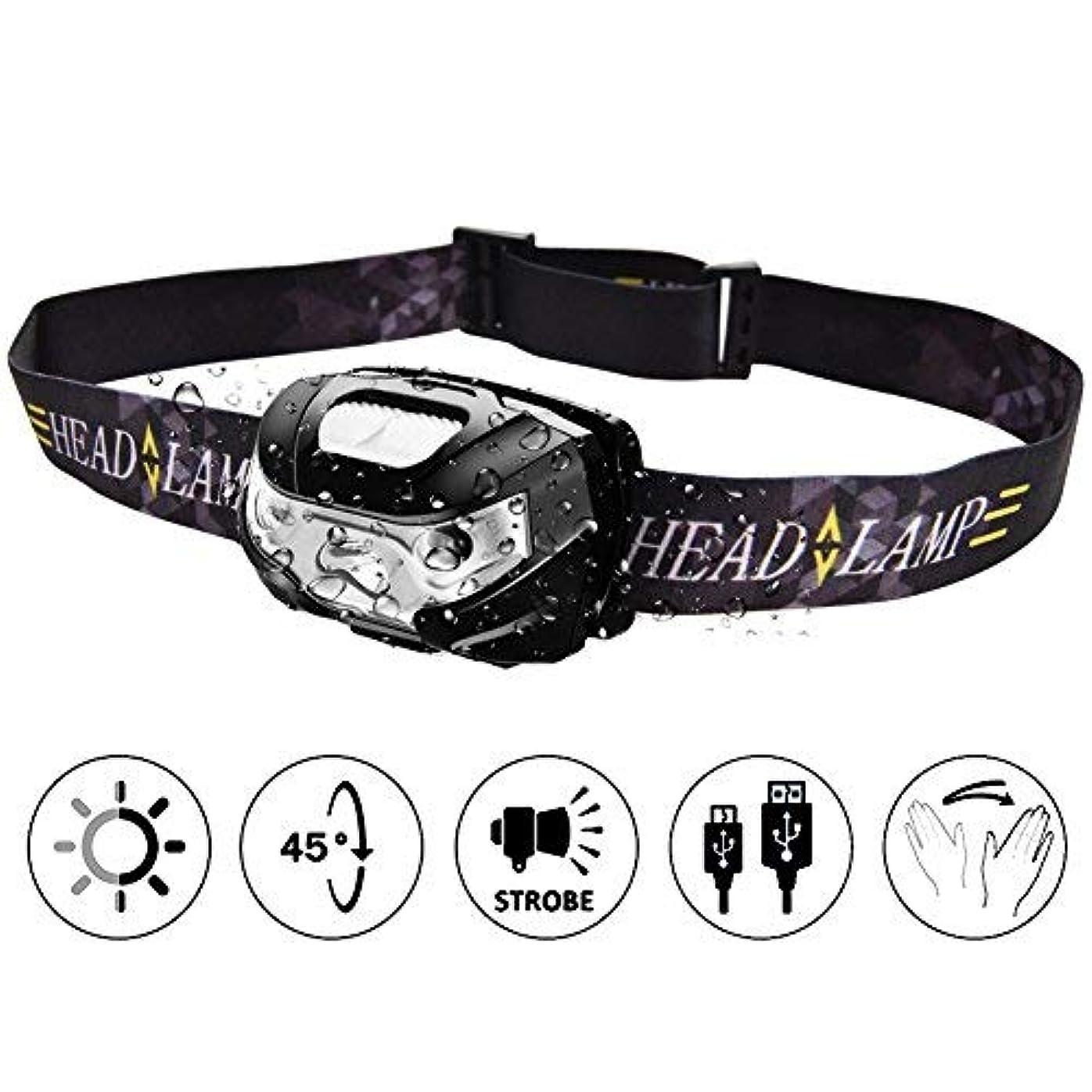 死傷者ビバ圧縮TinMiu LEDヘッドライト150ルーメン ANSI規格準拠 IPX4防水 USB充電式 ヘッドライト 三つモード切替 アウトドア スポーツ 登山用 防災