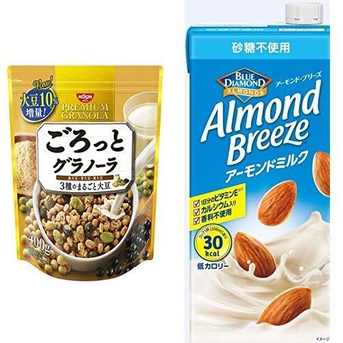 【セット買い】ごろっとグラノーラ3種のまるごと大豆400g 400gX6袋 + アーモンド・ブリーズ 砂糖不使用 1L×6本