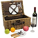HappyPicnic Wicker Picnic Basket for 2 Persons with Cutlery Service Set, Willow Hamper Supplies Kit for Outdoor Party