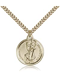Saint Christopherペンダント – ゴールドメッキセントクリストファーペンダントIncluding 24インチネックレス