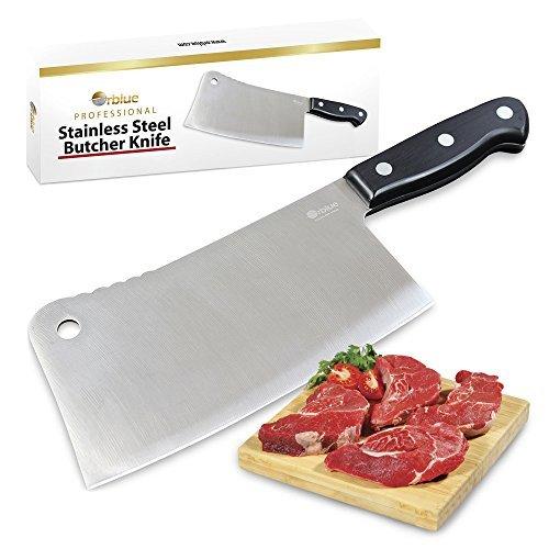 Orblueステンレススチールchopper-cleaver-butcherナイフ、7-inchブレードforレストランまたはホームキッチン