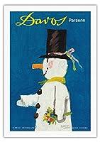 ダボス、スイス - パルセン山スキー場 - ビンテージな世界旅行のポスター によって作成された ハーバート・ルーピン c.1956 - 美しいポスターアート