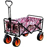 Beach Carts, Handcart Foldable, 80 Kg Load Capacity, Adjustable Rotary Handle, Double Brake Design, Detachable Oxford Tote Bag, for Beach, Garden, Camping, Outdoor Sport
