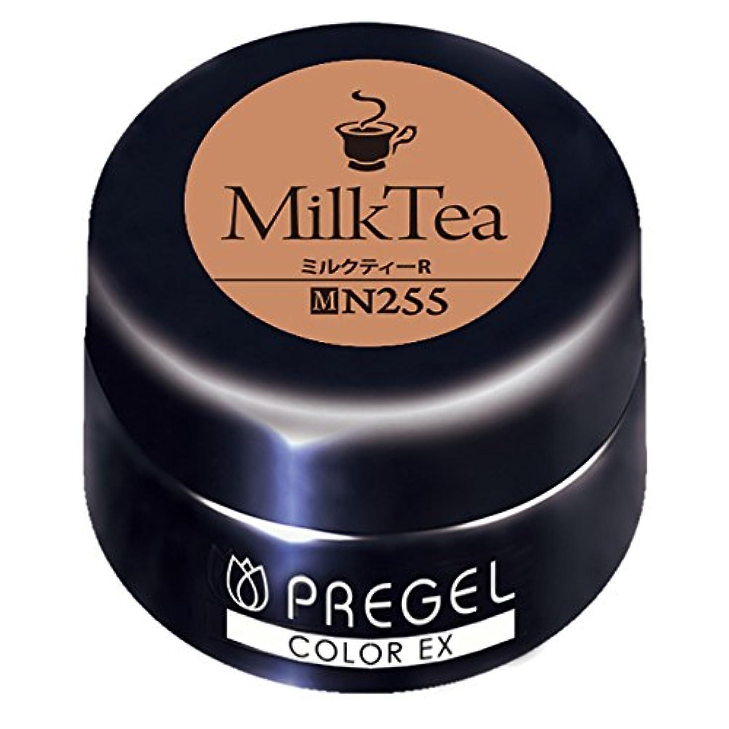 ベース約束する雄大なPRE GEL カラージェル カラーEX ミルクティー R255 3g UV/LED対応タイオウ