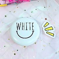 HuaQingPiJu-JP ミニラウンドホワイトレターパターンガラスミラー工芸品のための円装飾化粧品アクセサリーホワイト
