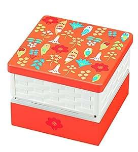 日本製 HAKOYA たつみや KOTORITACHI 15.0バスケットオードブル重 草花とインコ オレンジ 54033