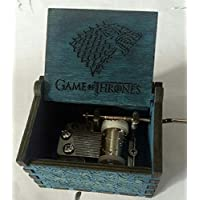 AeブルーGame of Thrones Carved Wooden音楽ボックス、ハンドクランクアクションMusical Toy Pine