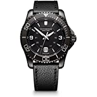 Victorinox Men's 'Maverick' Swiss Quartz Stainless Steel and Leather Casual Watch, Color Black (Model: 241787)