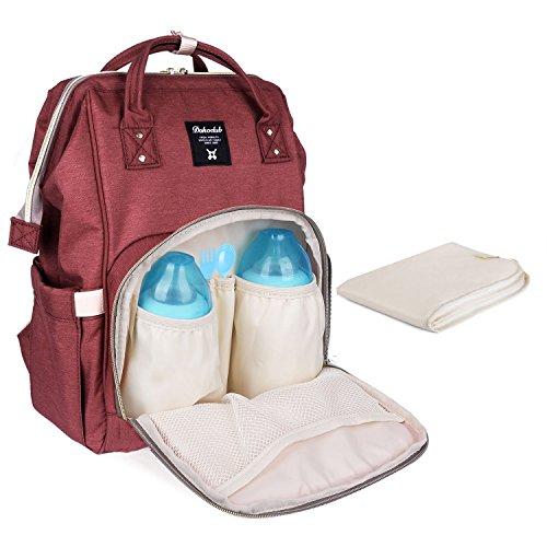 PomeloBest マザーズバッグ 大容量ママリュック ベビー用品収納 保温機能ポケット おむつ替えシート付き 出産お祝い (さびレッド)…