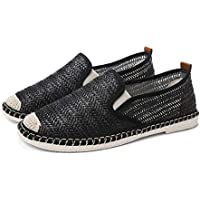 AUCDK Men Canvas Sneakers Casual Lightweight Plate Shoes Breathable Low Top Loafers Summer Flax Fisherman Shoes