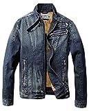 (アイセレクト)i-select スタンドカラー デザイン Gジャン デニム ライダース ジャケット ヴィンテージ (XL,ヴィンテージネイビー)