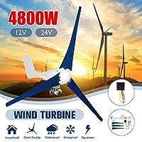 4800W 12V / 24V風力タービン発電機コントローラ風車エネルギータービンの電荷を有する3ブレード水平風力発電,24v