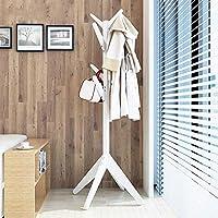 CHUNLAN コートラック 美しい実用的な寝室のハンガーソリッドウッドランディングコートラック (色 : 白)