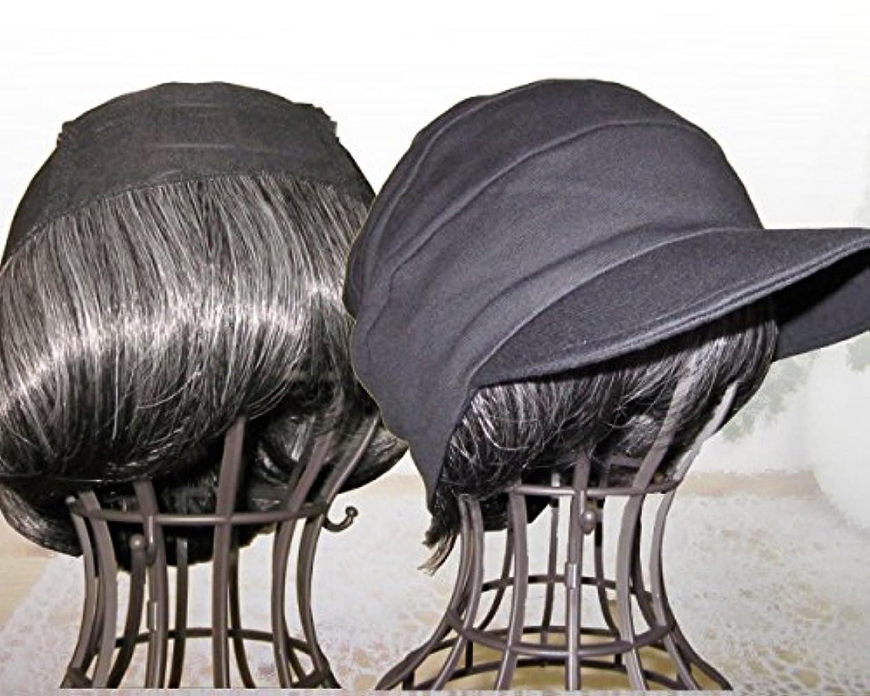 軍団限りなく一握り毛付き帽子 自毛に見える 毛付き帽子/T05白髪入り?段々キャスケット黒セット