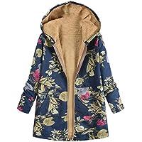 fanmeili-AU Women's Zip Fleece Winter with Hood Thick Floral Down Jacket Coat